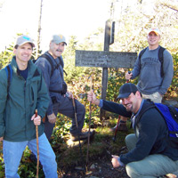 Hikers at the trailhead in Great Smoky Mountains National Park