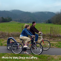 Bicycle riders on Cades Cove Loop Road