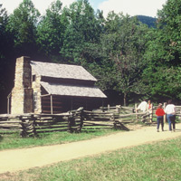 Old restored log cabin in Cades Cove