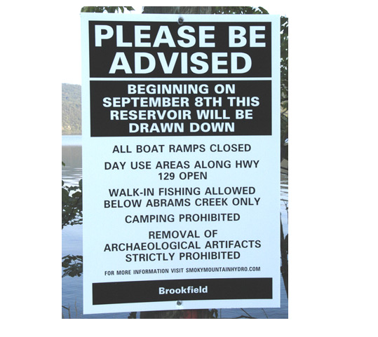 Sign at Chilhowee Lake announcing the pending draw-down of the lake.