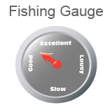 Fishing Gauge, indicating fishing is between good and excellent.