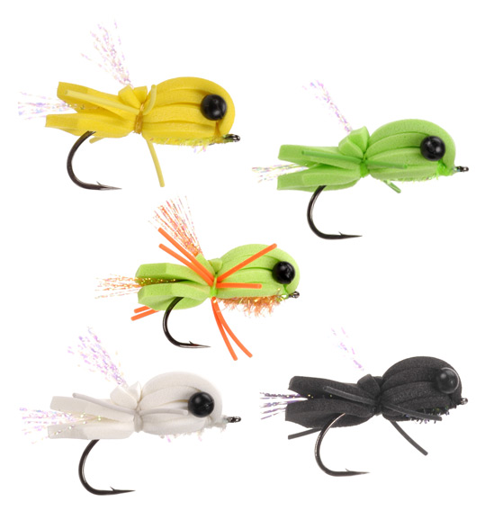 Byron's Knucklehead Bass and Bluegill flies in 5 colors.