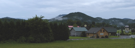 View of the Great Smoky Mountains from Little River Outfitters on August 19, 2013.