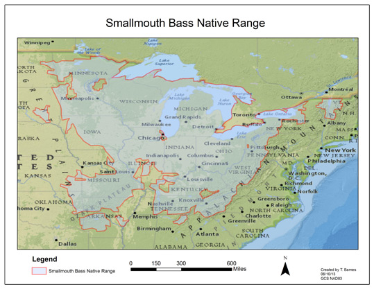 Map of the US, depicting the original native range of the smallmouth bass.