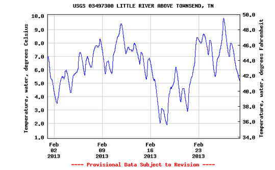 USGS Chart showing the water temperature in Little River during February 2013.