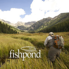 Man fly fishing on a spring creek with Fishpond logo.