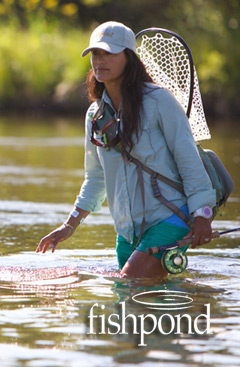 Woman Wading and Fly Fishing - Fishpond Logo