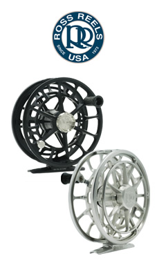 Ross Evolution R Fly Reels shown in Black and Platinum.
