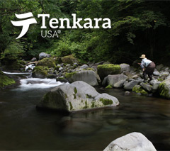 Man fly fishing a small stream with a Tenkara USA fly rod.