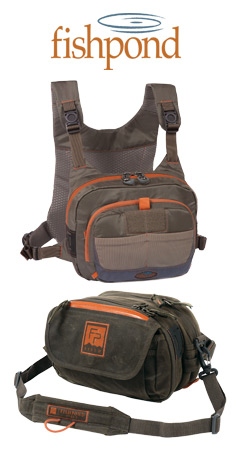 Fishpond Cross-Currrent and Blue River chest packs.