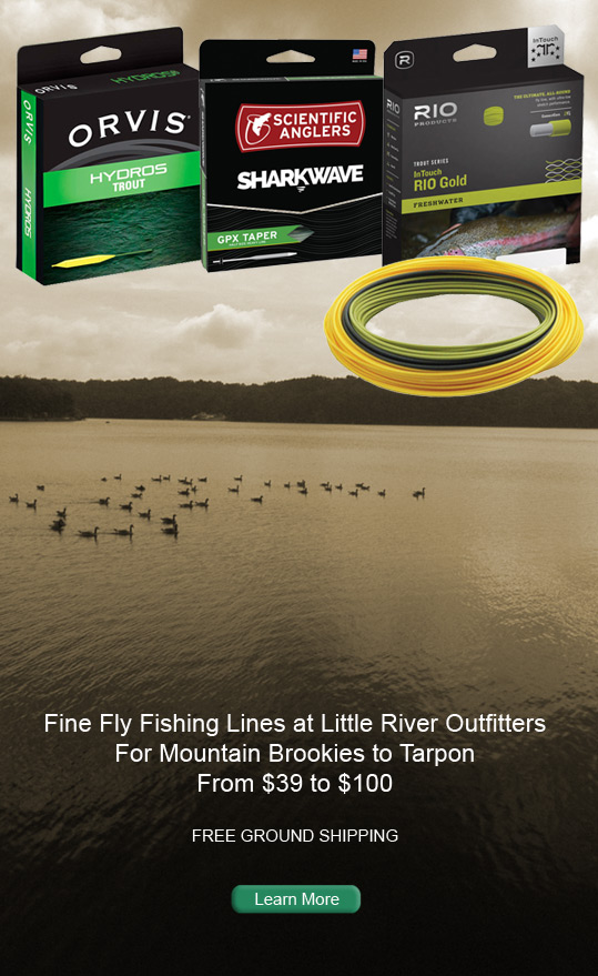 Fly LIne Ad featuring Scientific Anglers, Rio and Orvis on a lake background.