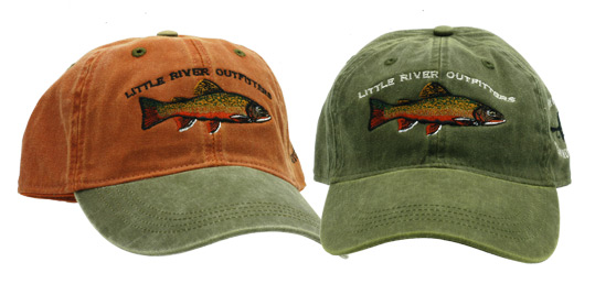 Two LRO Brookie Caps in the colors Orange and Conifer.
