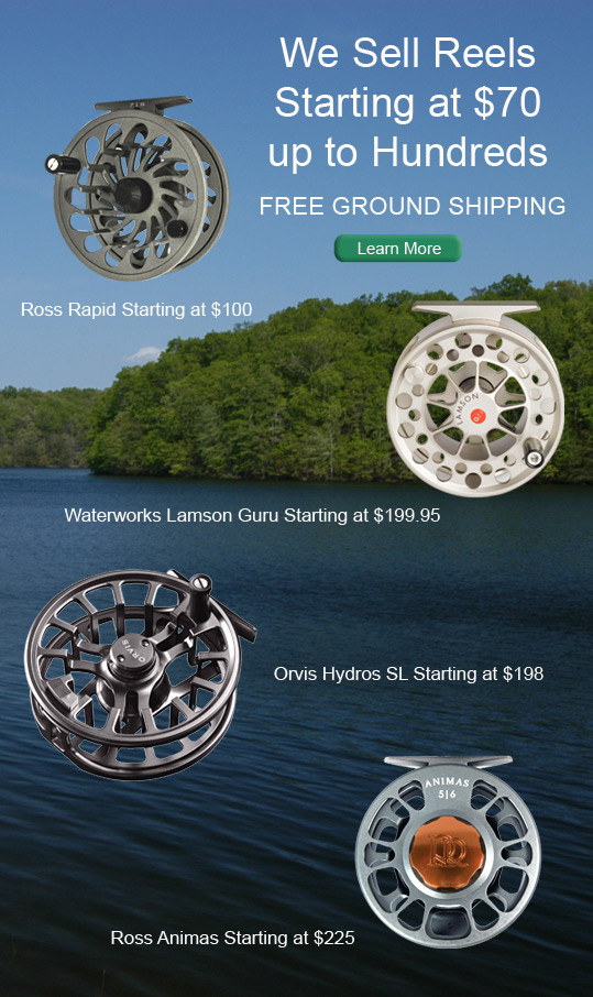 Reel ad featuring Ross Rapid, Waterworks Lamson Guru, Orvis Hydros SL and Ross Animas reels.