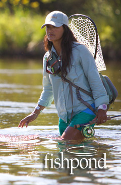 Woman Fly Fishing and Fishpond Logo