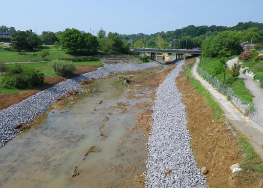 Greenbelt Lake restoration downstream from Blount County Library.