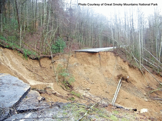 Landslide Highway 441 in Great Smoky Mountains National Park