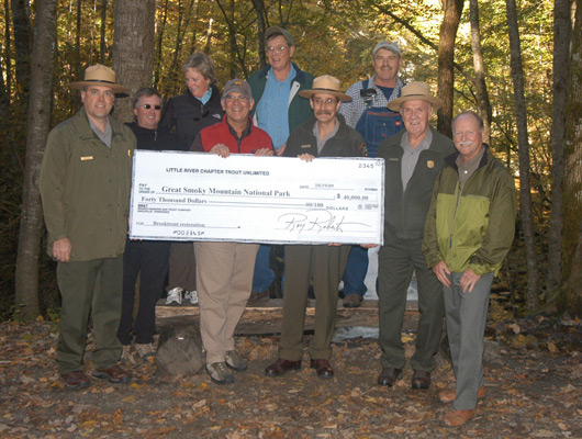 Presentation of $40,000 check to Park Service.