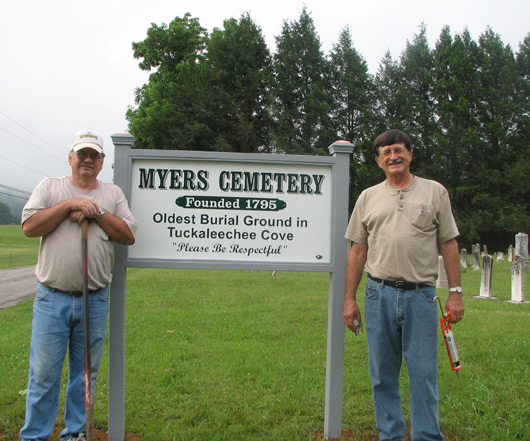 New Sign in Myers Cemetery